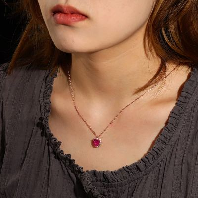 Fuchsia Heart Necklace